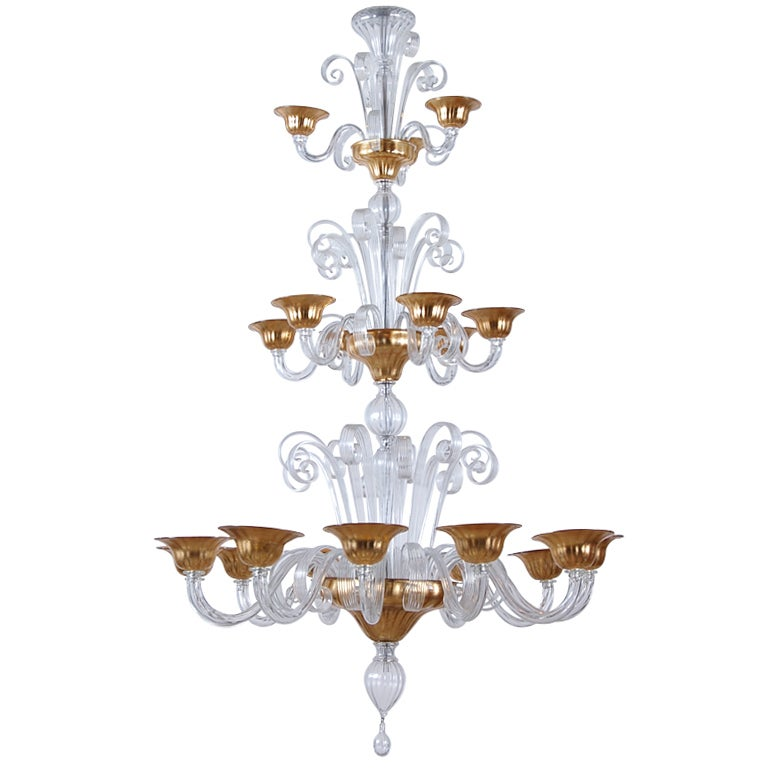 three tier clear and gold murano chandelier with 21 branches at 1stdibs. Black Bedroom Furniture Sets. Home Design Ideas
