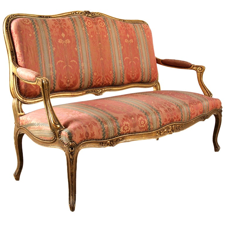 French antique louis xv style giltwood settee and for Antique furniture styles explained