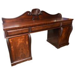 19th Century Large English Mahogany Two-Pedestal Regency Style Server