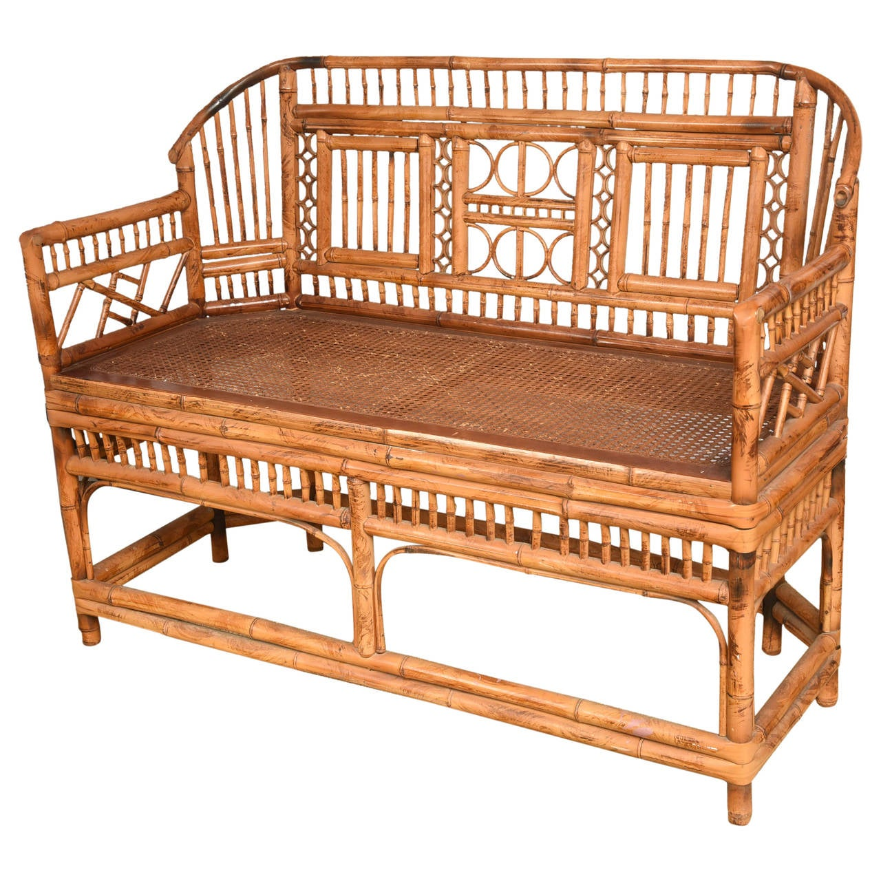 Vintage Bamboo Settee with Cane Seat For Sale