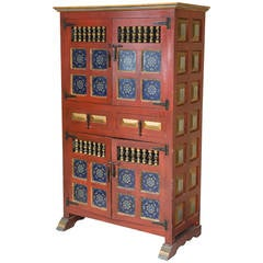 Spanish Hand-Painted Antique Kitchen Cupboard with Blue Tiles