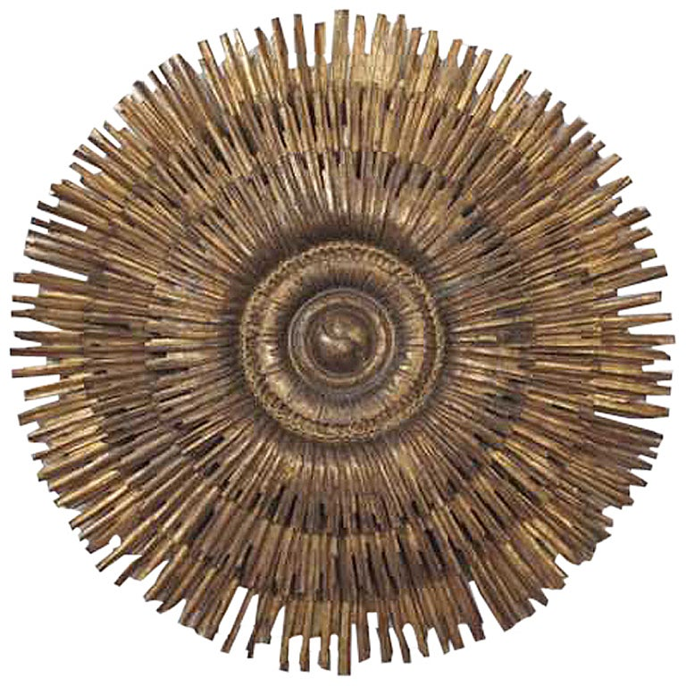 "Spectacular Spanish wooden wall Hanging-Ruiz Vernacci Madrid- April 1961. Such a dramatic statement at 59"" diam. Magnificent gilt and patina-displaying in size 4 feet 9""."