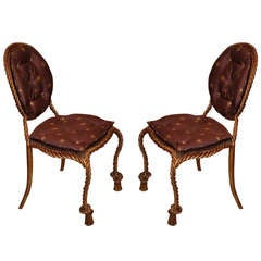 Niccolini Pair of Gilt Iron Side Chair