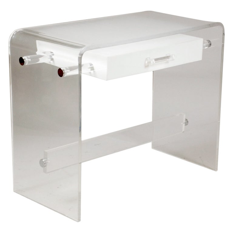 Clear frosted and white lucite desk at 1stdibs for Perspex desk