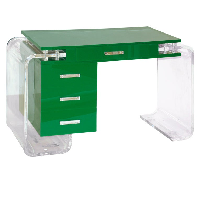 green and clear lucite desk at 1stdibs