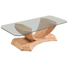 Karl Springer style coffee table in tesselated stone