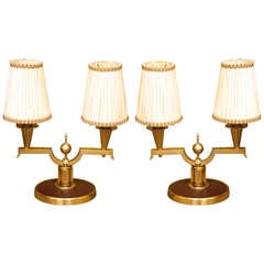 Genet et Michon Pair of Gilt Bronze Lamps, 1940