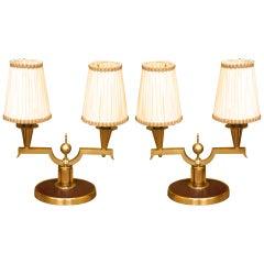 Genet et Michon Pair of Gilt Bronze Lamps, 1940