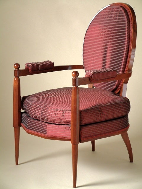 "Early version of Ruhlmanns ""Napoleon"" armchair. Sold together with the original vintage Ruhlmann archive photograph of this chair. The only known example of this variant of the ""Napoleon"" model."