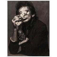 Keith Richards Smoking Print by Albert Watson