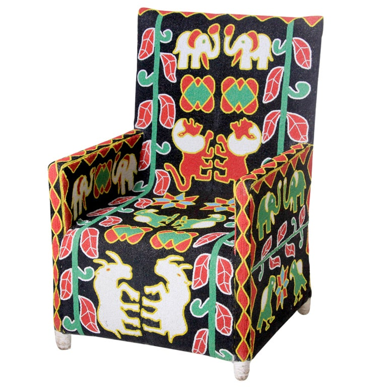 African Beaded Chair For Sale