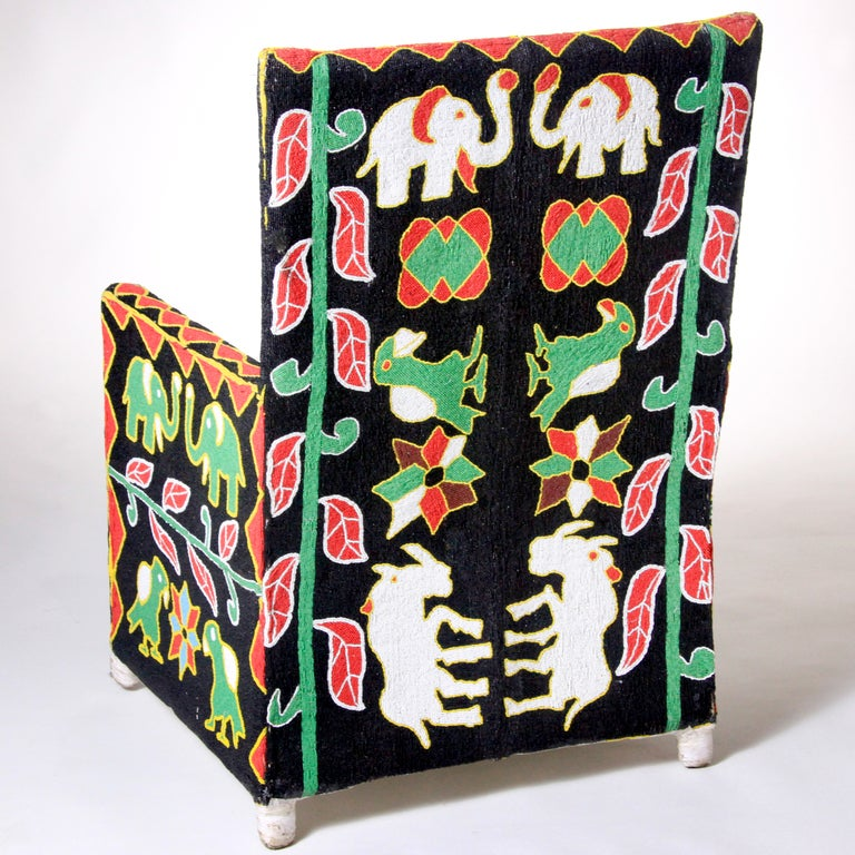 African Beaded Chair In Excellent Condition For Sale In New York, NY