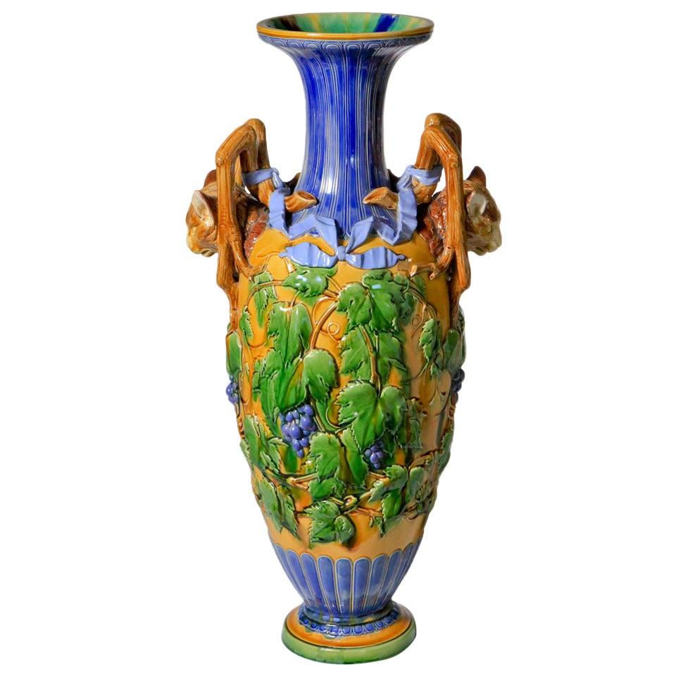Minton Majolica Cats Head Vase