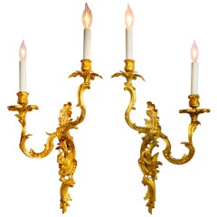 French Gilt Bronze Sconces