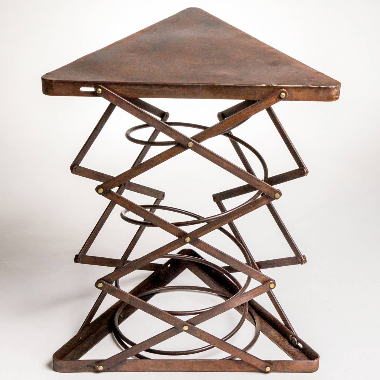 Triangular Metal Side Table For Sale at 1stdibs