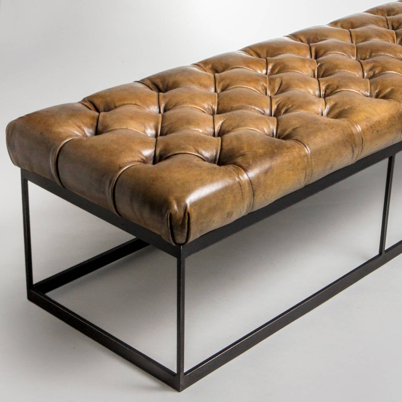Tufted Leather Bench At 1stdibs