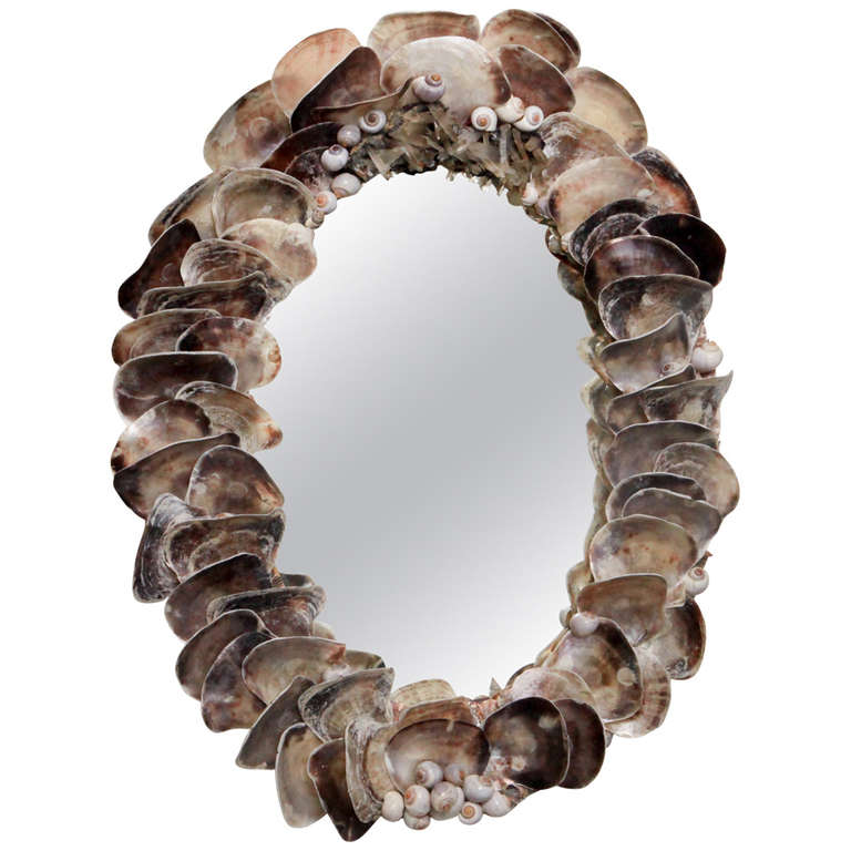 Oyster-shell mirror, late 20th century