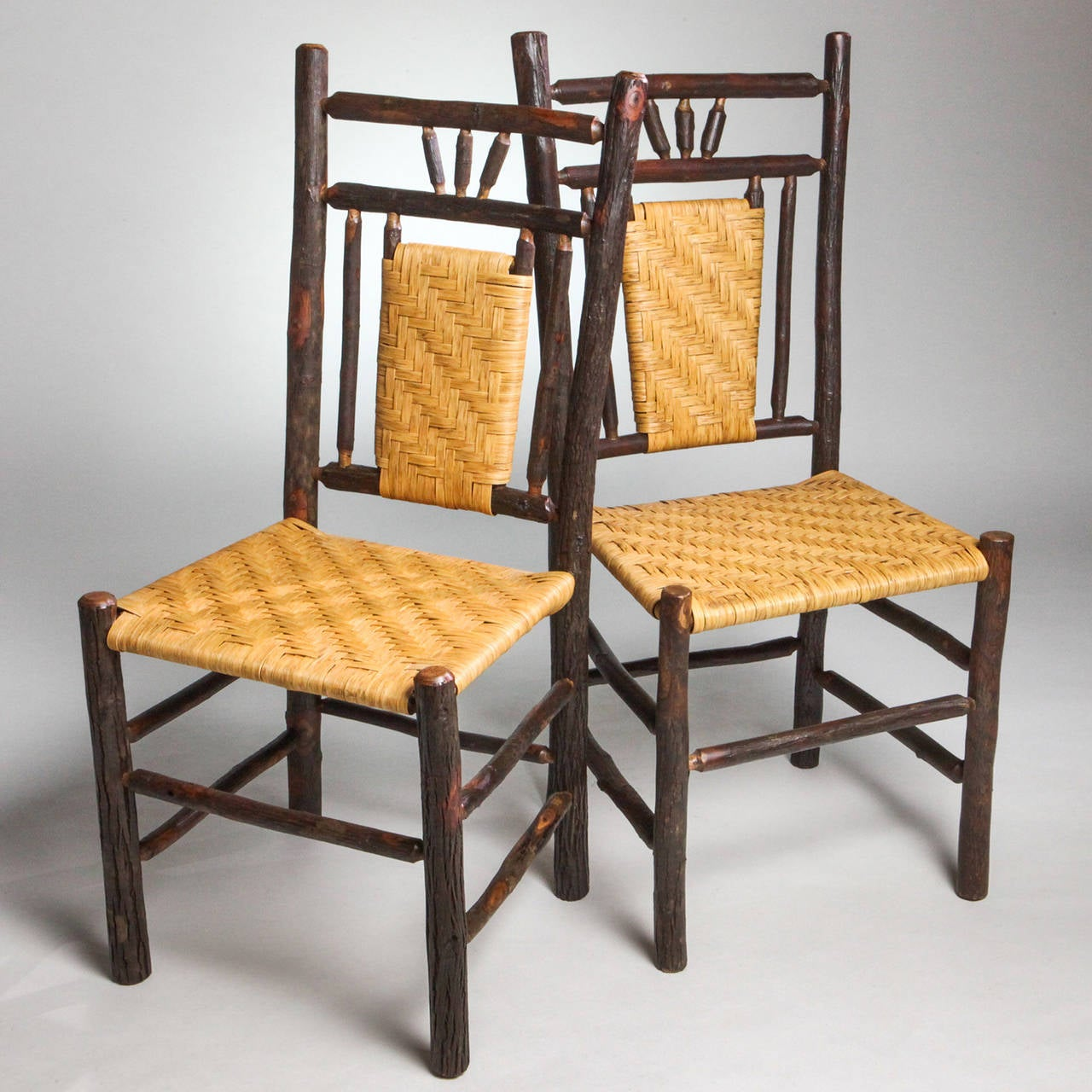 20th Century Adirondack Woven Seat Chair For Sale