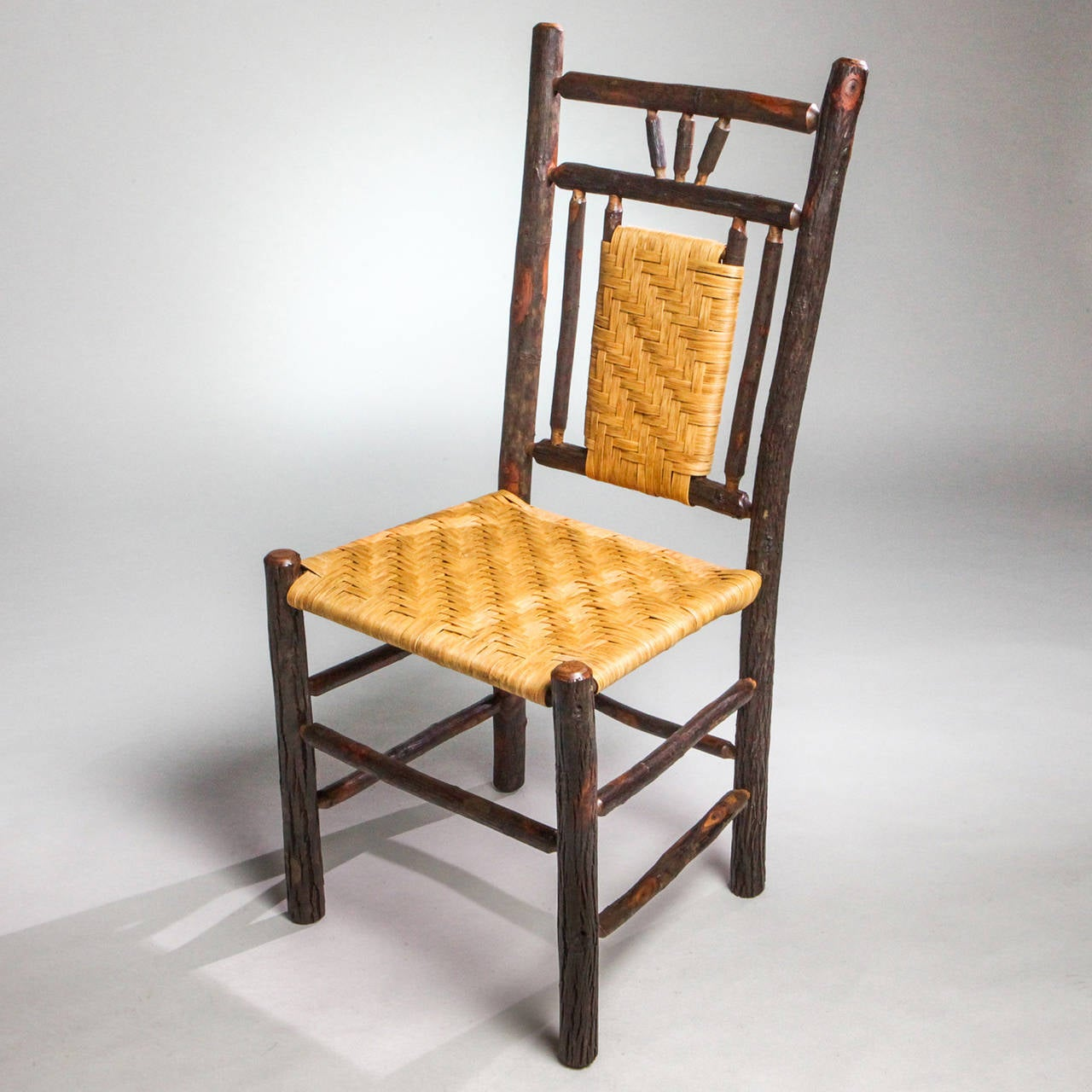 American Adirondack Woven Seat Chair For Sale