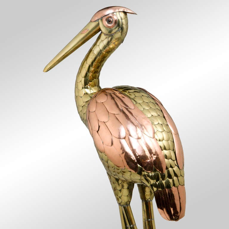 Late 20th Century Bustamante Heron Sculpture For Sale