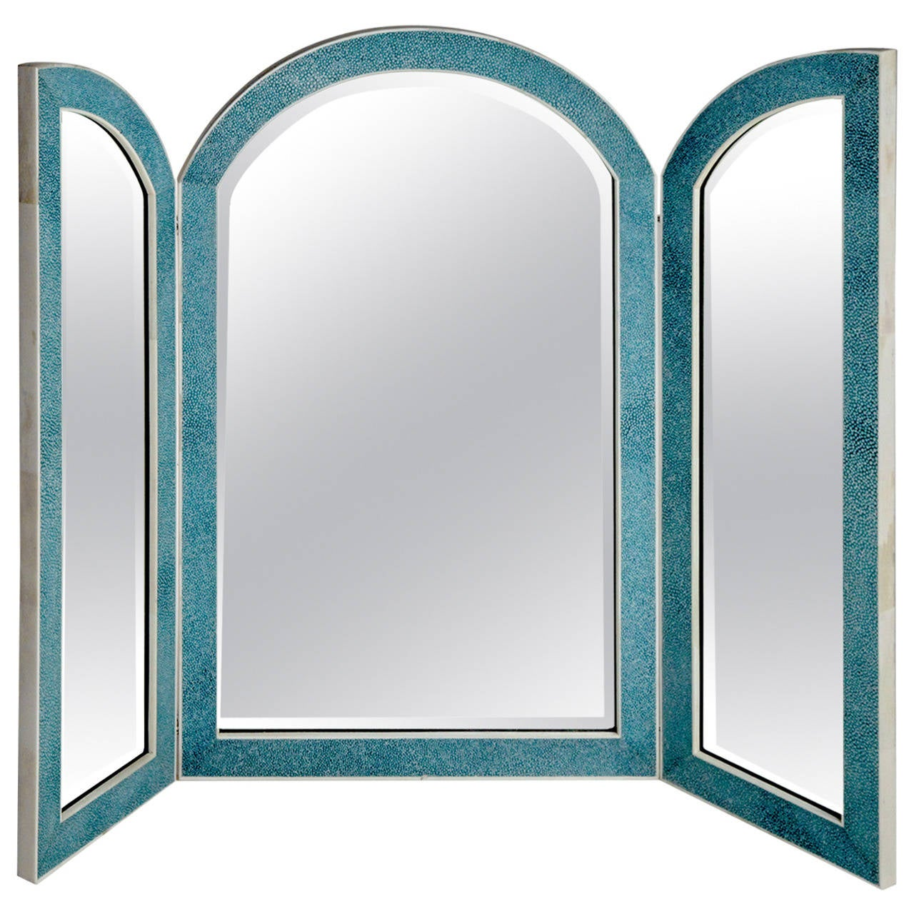 Turquoise tri fold shagreen mirror at 1stdibs for Tri fold mirror