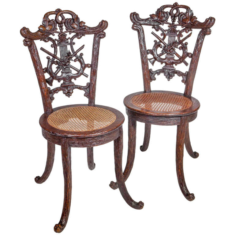 pair of black forest chairs for sale at 1stdibs. Black Bedroom Furniture Sets. Home Design Ideas