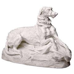 Parian Ware Hound Sculpture