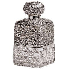 Embossed Silver and Cut Crystal Decanter