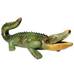 Majolica Alligator Sculpture