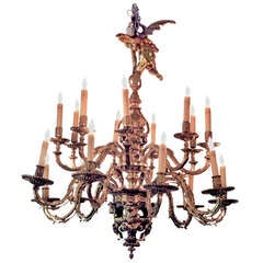 French Baroque Brass Chandelier