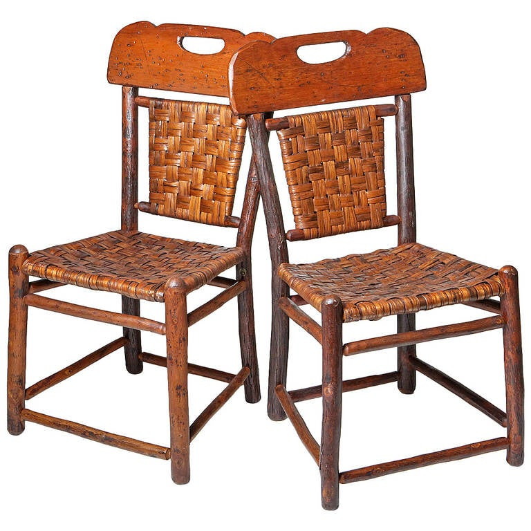 Pair of Old Hickory Chairs For Sale at 1stdibs