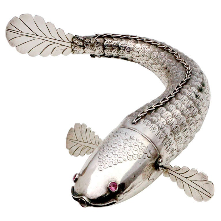 Articulated silver fish, 19th century