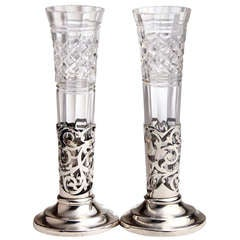 Pair of Crystal and Silver Vases