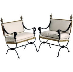 Pair of French Iron Benches