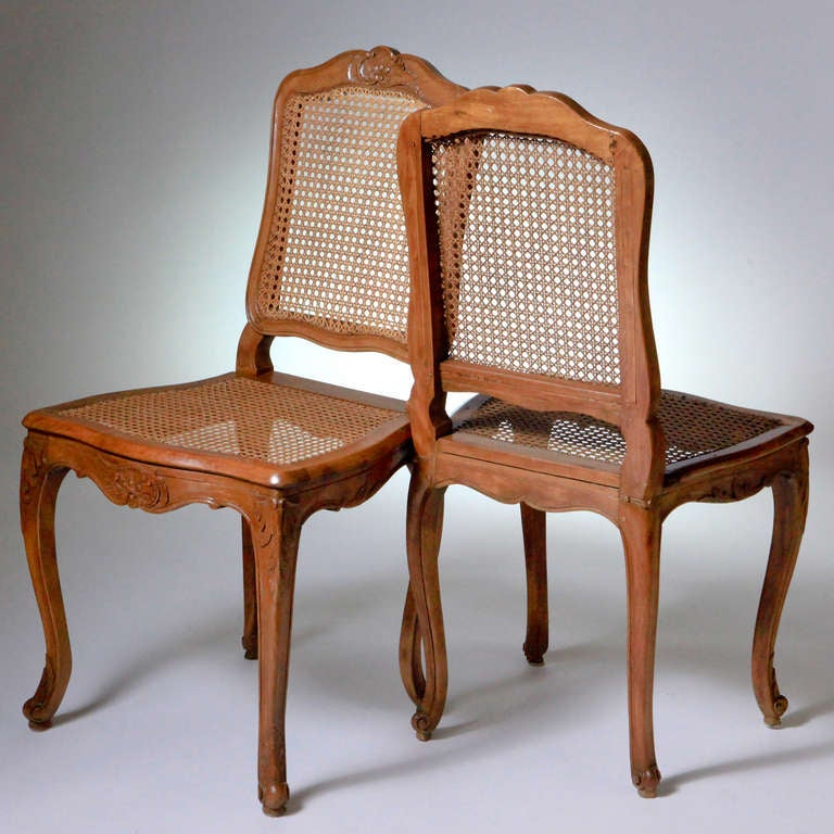 18th Century and Earlier French Louis XV Caned Chairs For Sale
