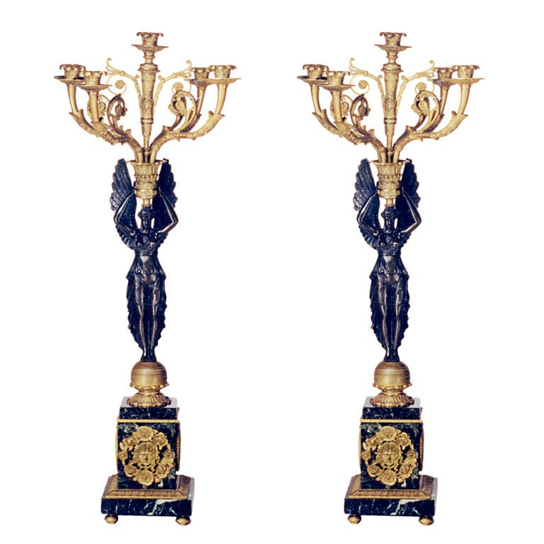Pair of Bronze Candelabra For Sale