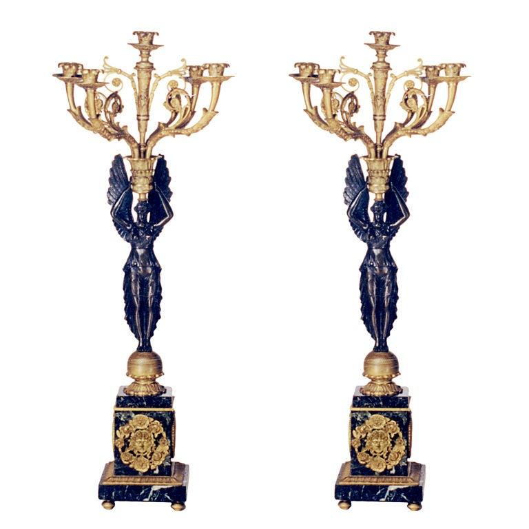 Pair of Bronze Candelabra