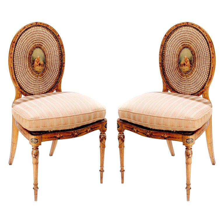 Pair of Satinwood Chairs For Sale