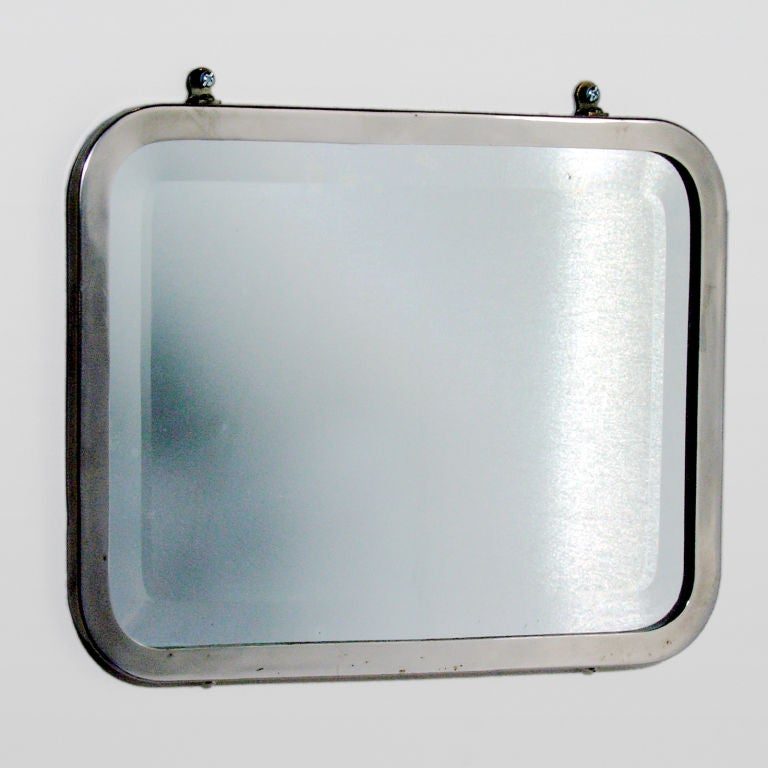 Small Antique Rounded Rectangular Polished Nickel Bathroom Mirror With  Curved Edges And Heavy Beveled Glass.