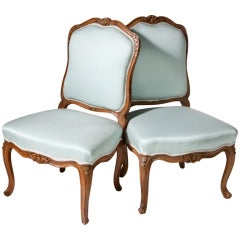 French Walnut Bergere Side Chairs