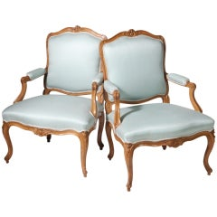 French Walnut Bergere Armchairs