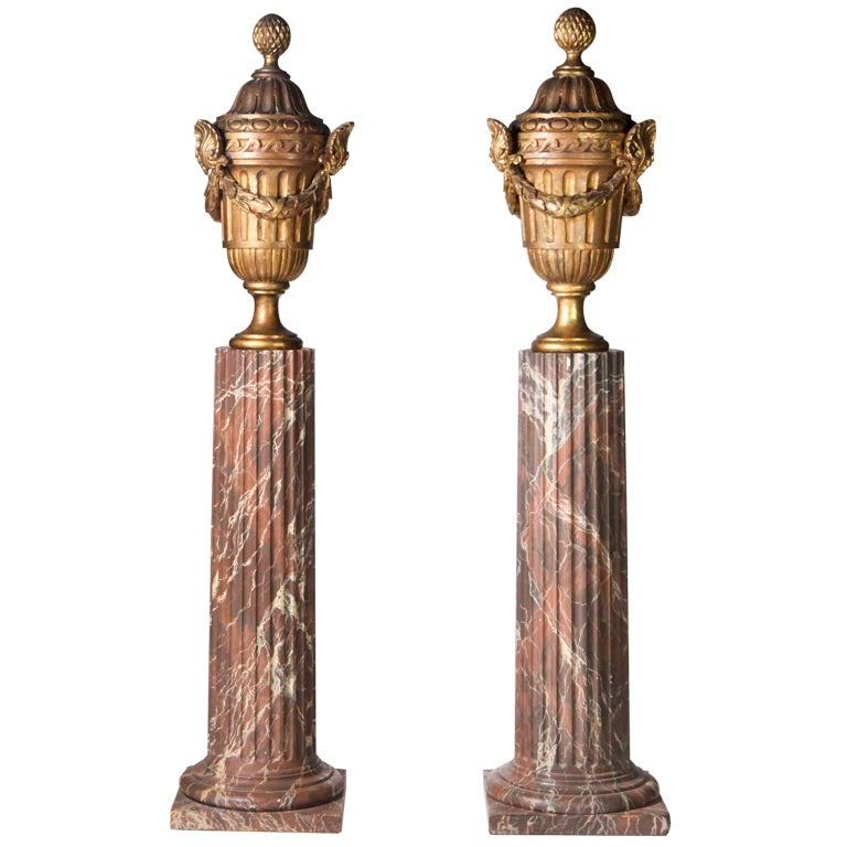 Giltwood Urns on Pedestals