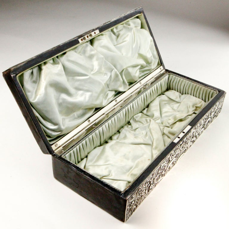English Silver Repousse Box For Sale