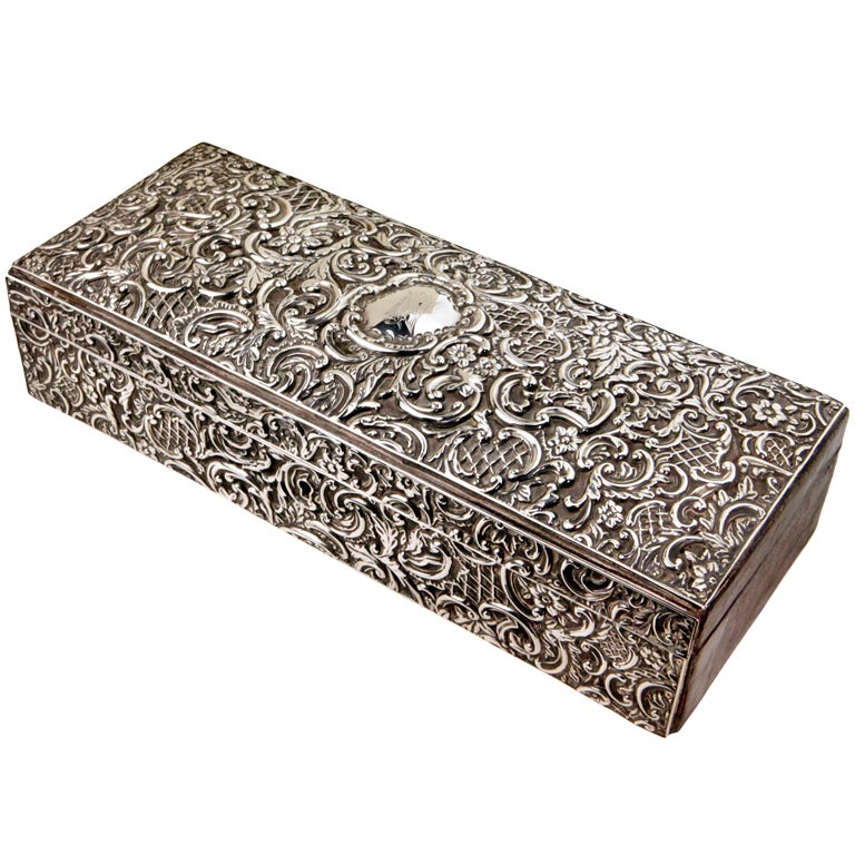 Silver Repousse Box For Sale