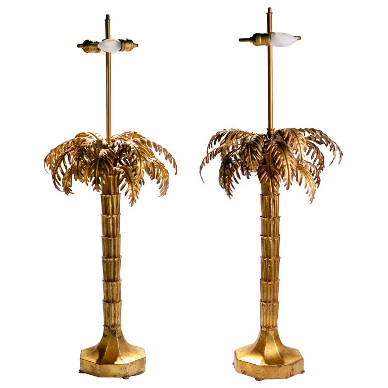 Tole Palm Tree Lamps For Sale