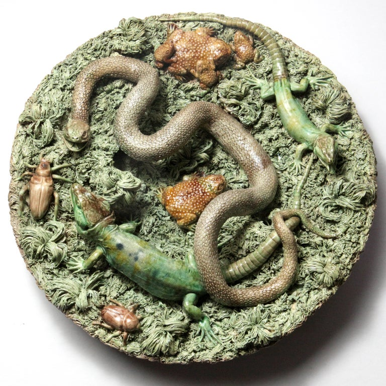 Large Portuguese palissy plate or charger with a long coiled snake, two lizards, three brown toads and two beetles. Signed: #2 M. Mafra, Caldas, Portugal.