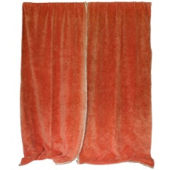 Pair of Orange Velvet Drapes with Fringe Trim