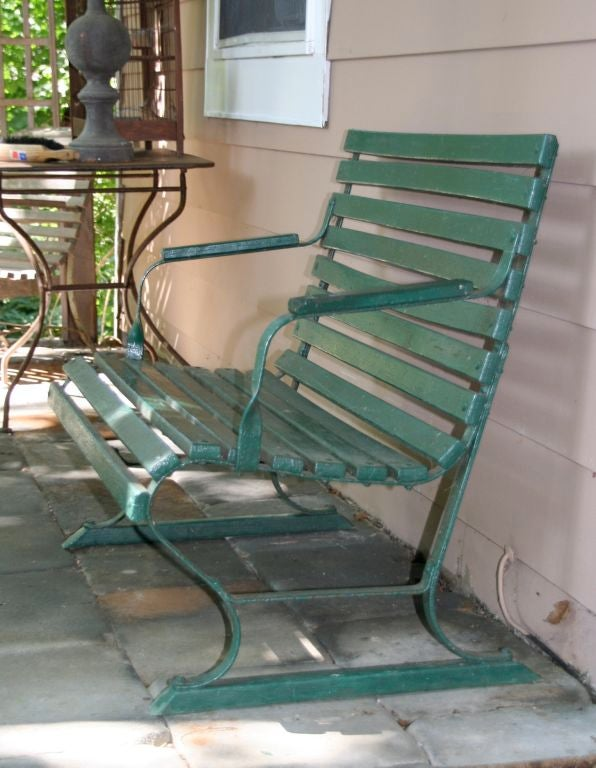 20th Century Small Green Garden Bench For Sale