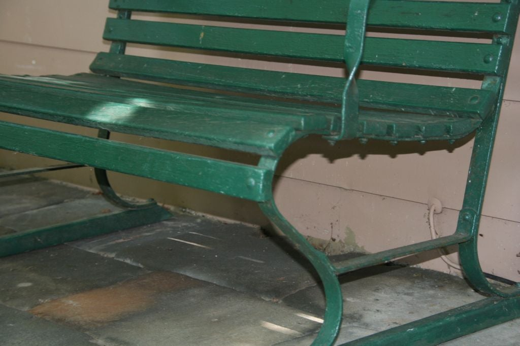 Iron Small Green Garden Bench For Sale