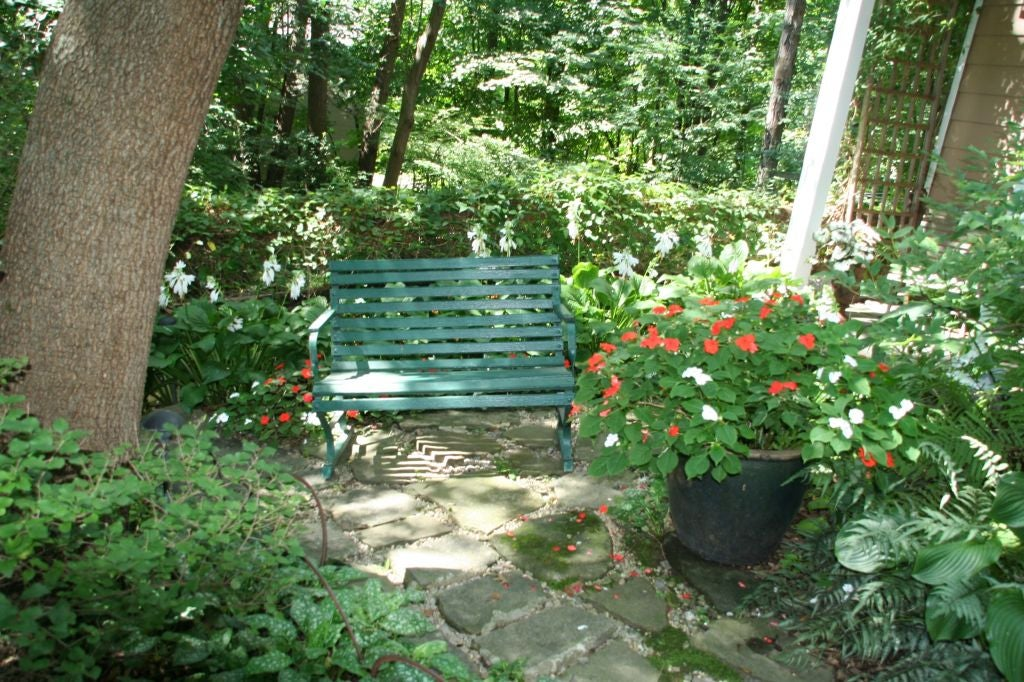 Small Green Garden Bench 6